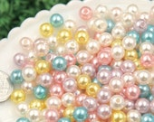 Pearl Beads - 8mm Small Round Pastel Acrylic Pearl Plastic Beads - 200 pc set