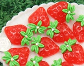 Strawberry Cabochons - 34mm Big Juicy Red Strawberry Rhinestone Resin Flatback Cabochons - 5 pc set