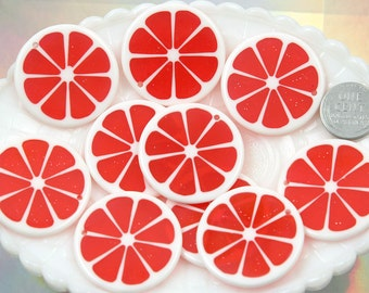Orange Charms - 35mm Colorful Citrus Fruit Resin Charms - Red - 5 pc set