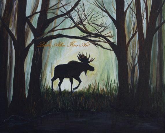Moose Acrylic Original Painting Bull Moose Painting Animal