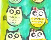 original acrylic painting Mari Ward MAine artist folk art owls