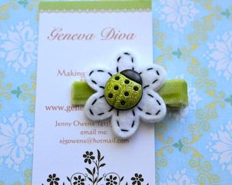 Lime Green Little Ladybug Felt Flower Clip