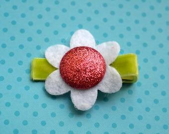 Glittery Hot Pink Felt Flower Clip