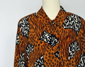 SALE - 80's Animal Print Blouse /  Womens Polyester Blouse / Medium to Large
