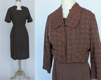 50's / 60's Brown Wool Dress and Jacket Ensemble - Small to Medium