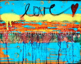 "Love Runs Through 8""x10"" Mixed Media Art Print - Abstract Art Print, Wedding, Home Decorating, Valentine Art"