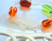 glass jellybean bracelet hand wire wrapped