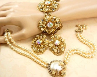 BIG Haskell style Parure Seed PEarl CLuster bracelet earrings necklace