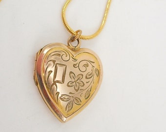 Victorian yellow and rose gold filled heart Locket necklace sweetheart photo locket