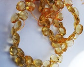 Super SALE...Very Nice Light Citrine Small Faceted Heart Briolette Drop Beads 5.5-6mm 10 beads LOT