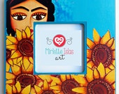 Wood picture frame (8 x 8 inches) / print mounted on wood - Frida Kahlo with sunflowers