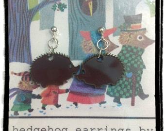 Laser Cut Acrylic Hedgehog Earrings