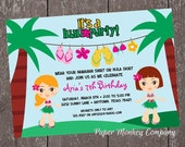 Luau Birthday Invitation - 1.00 each with envelope