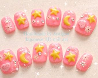 Moon, princess, serenity, cosplay nails, star nails, 3D nail, Japanese nail art, kawaii nail