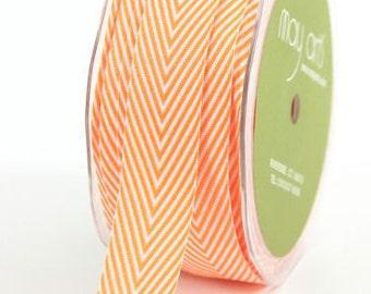 Orange Chevron Twill Ribbon . 5 yards (15 feet) . 3/4 inch