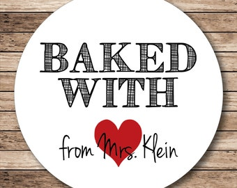 Baked with Love (heart) Personalized Stickers, Baking Labels or Tags