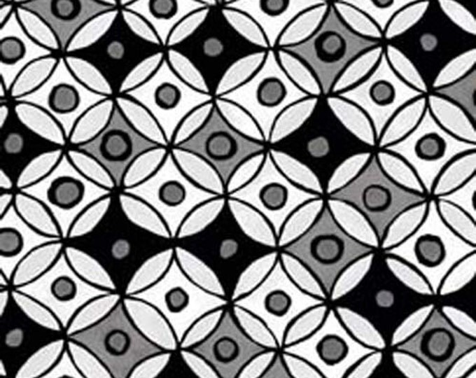 Hippie Hoops Fabric by Ellen Medlock - Black/Gray/White Mini Geometric Circle Sewing Quilting Cotton Fabric (#914M)