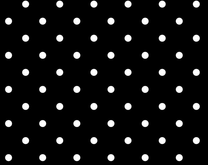 Domino Dot Black Polka Dot Fabric by Ellen Medlock - Quilting Sewing Cotton Fabric (#916M)