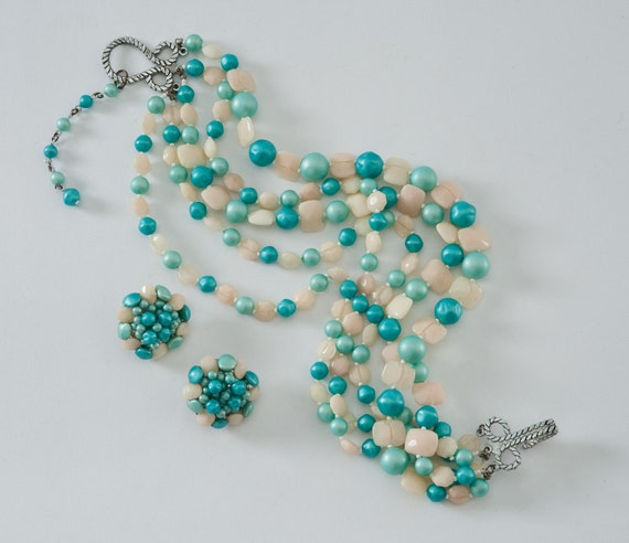 1950's Sea Blue Green Necklace Earrings Set - Five Strand Faux Pearl necklace