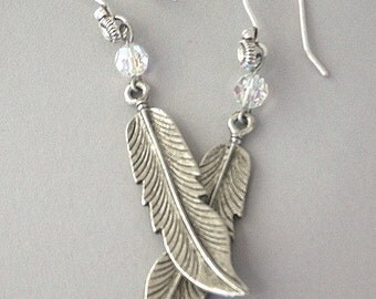 Long antiqued silver feather earrings, dramatic metal feather earrings, silver tribal earrings, silver bohemian, Swarovski crystal