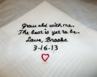 Bride to groom wedding handkerchief, groom gift, hand embroidered, wedding colors welcome,