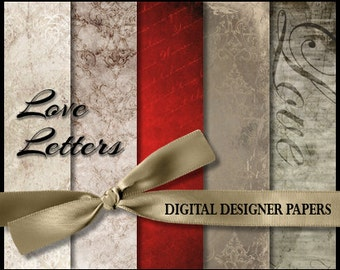 Digital Papers - LOVE LETTERS - 12x12 Expertly Designed Photography Backdrops for Photographers & Scrapbookers.