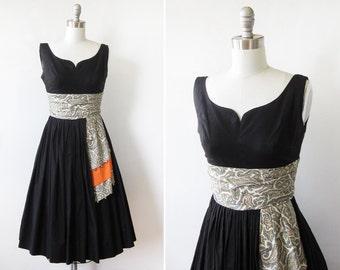 60s black dress, vintage 1960s party dress,  xxsmall full skirt cotton dress