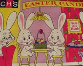 Vintage Brachs Easter Candy Advertising Store Banner Bunny Rabbit and Eggs 1960s