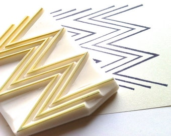 geometric pattern stamp. hand carved rubber stamp. chevron zigzag herringbone pattern stamp. gift wrapping. block printing. scrapbooking
