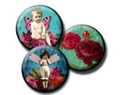 Victorian Kids on Tattered Teal - 12mm circles - Digital collage sheet