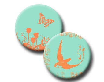 Tangerine Silhouettes on Mint - 1 inch circles - Digital collage sheet - instant download
