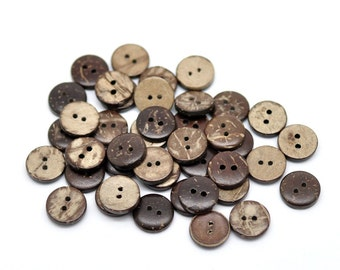 12 Brown Coconut Small Buttons 11mm - Natural Wood and Eco Friendly  (BC603H)