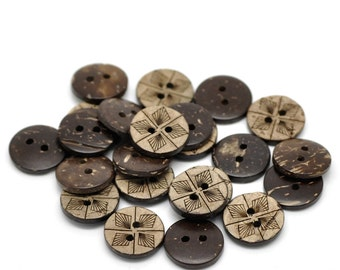10 Brown Coconut Shell Buttons 15mm -  Geometric (BC614)