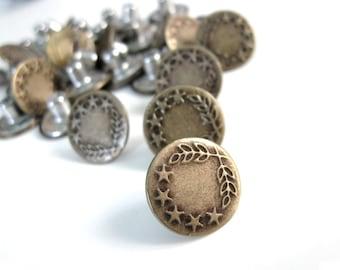 5 Antique Bronze Star No Sew Jean Tack Buttons 17mm  (BM200B)