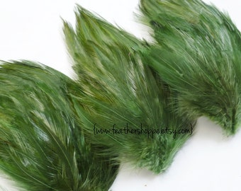 SET OF 5 - Moss Green Hackle Feather Pad