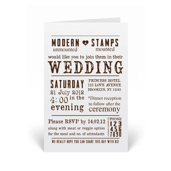 Wedding Invitation Rubber Stamps: Wedding Invitation Stamp Wedding Stamp By Modernartstamps