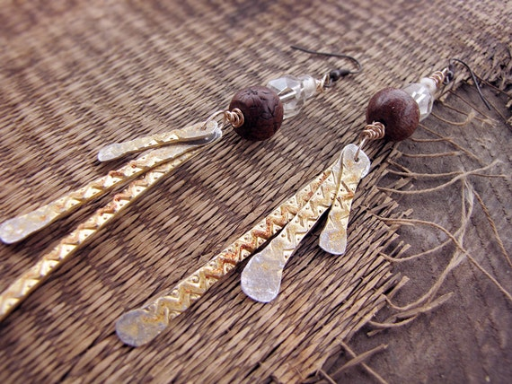 Wheat - bohemian rustic earrings - hammered metal - crystal beads - modern gypsy