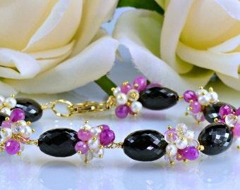Black Spinel Pink Sapphire Gemstone Bracelet,White Topaz,Pearls,14k Gold Filled Wire Wrapped Bracelet, Midnight Caress