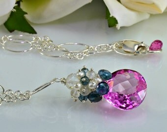 Pink Topaz Gemstone Necklace London Blue Topaz Pearls Sterling Silver Wire Wrapped Necklace