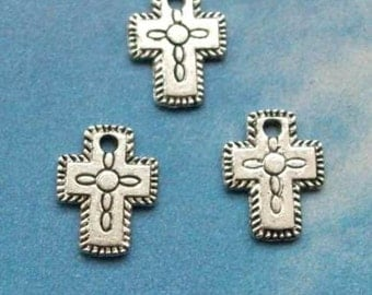 10 little cross charms with etched details, silver tone, double sided, 12mm