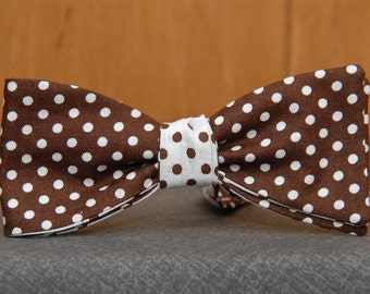 Brown Polka Dots on White and Reverse Double Sided  Bow Tie