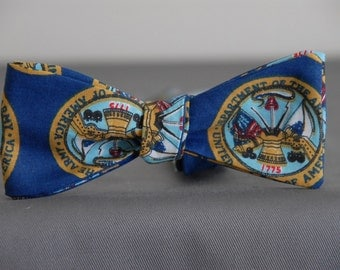 Army Shield on Blue  Bow tie