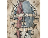 Don't Give Up The Ship 8x10 painting print