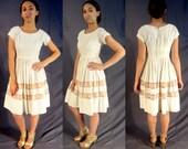 1950s Cotton Lawn Dress - Vintage Wedding Dress - Rockabilly, Eco Friendly, Mad Men - Lou Ross