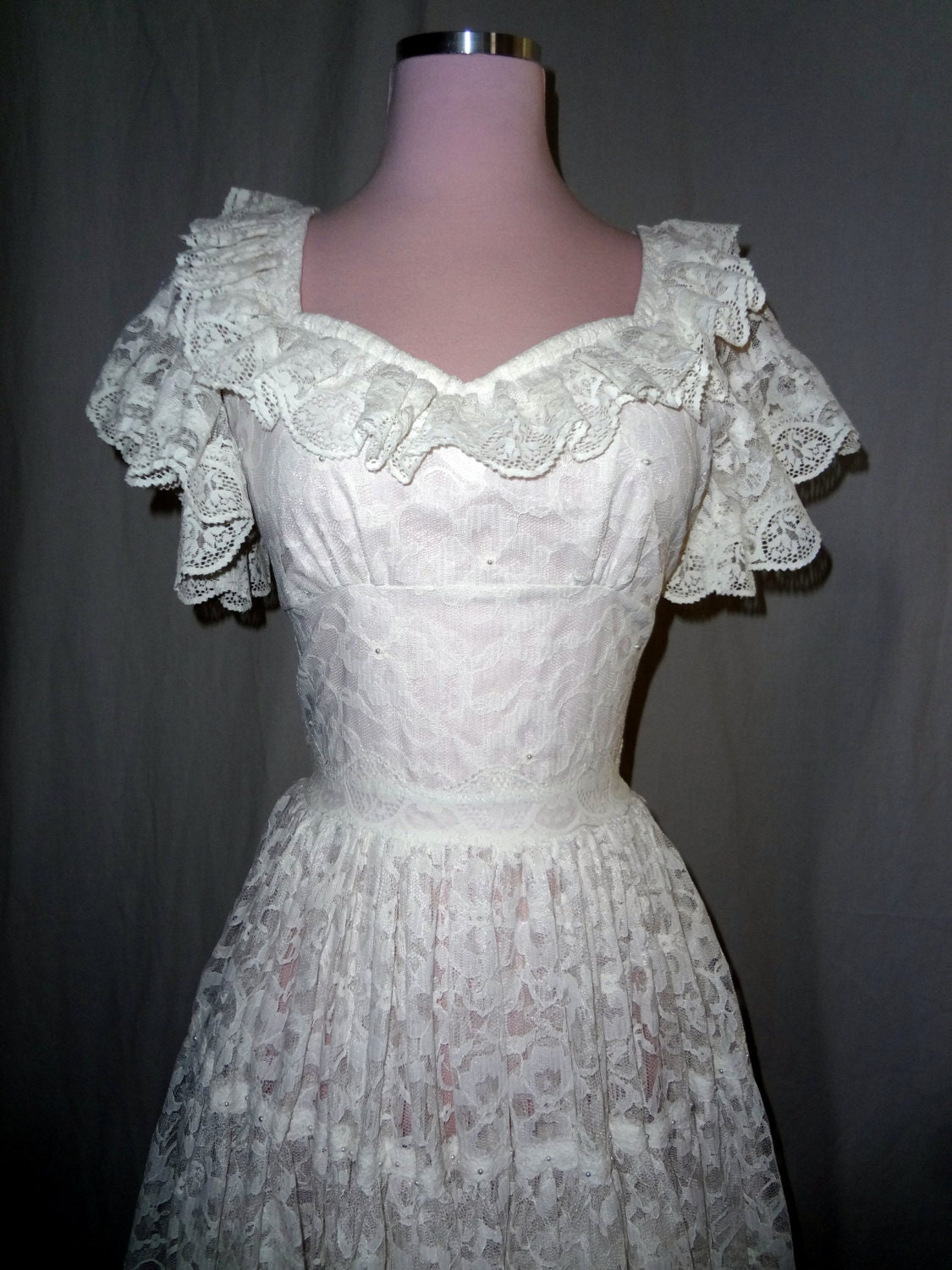 1950s Rockabilly White Lace Vintage Short Wedding Dress