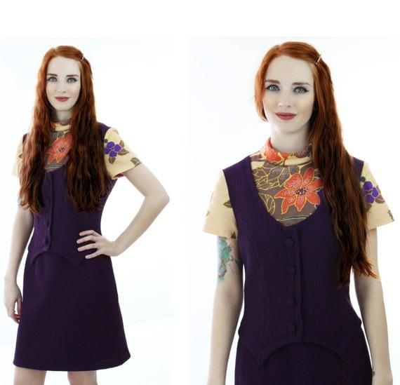 60s Wiggle Dress Mad Men Vintage Mod Floral Dark Purple Vest  Preppy School Girl 1960s Large L