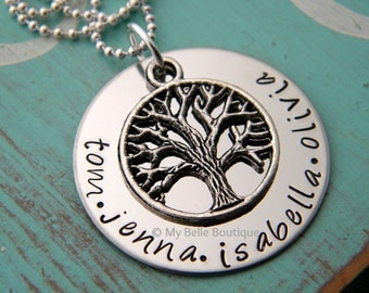 Personalized Hand Stamped Family Tree Mother's Necklace with Silver Tone Tree of Life Charm