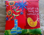 Blue Flowers and Yellow Canary with Quote Beaded Art Pillow