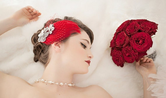 Bridal Fascinator, Wedding Head Piece, Red Feather Fascinator, Bridal Hair Accessory