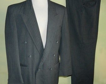 42 Vintage 80s Double Breasted Suit Peak Lapel Gray Pinstripe Bespoke Fullers Tailor Shop Made in USA Men's Custom Suit